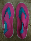 GIRLS WATER SHOES SIZE L 2 3 BLUE PINK WITH HOLD ADJUSTMENT TAB HEEL BUMPERS
