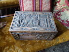 VINTAGE ART DECO STORAGE HAND CARVED WOOD WOODEN BOX WITH LID SEWING BOX