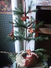 PRIMITIVE vintage FEATHER TREE with CINNAMON ORNAMENTS  - Antique LOOK and quilt