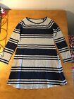 Lands End Girls Dress Size 7 Navy Gray excellent condition
