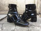 size 40 MIU MIU black patent leather buckle boots mod glossy ankle booties heels