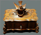 ANTIQUE  BLACK FOREST WOOD CARVED BIRD JEWEL BOX 19th.C