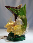 Italian Murano Seguso Vetri dArte Ruby  Green Glass Double Fish Figure Lamp