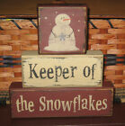 PRIMITIVE  COUNTRY SNOWMAN KEEPER OF THE SNOWFLAKES  3PC BLOCK SET~ WINTER