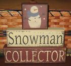 PRIMITIVE  COUNTRY SNOWMAN COLLECTOR  3PC BLOCK SET~ WINTER
