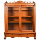 Antique Horner School Carved Oak Bookcase with Gallery, Acanthus and Paw Feet