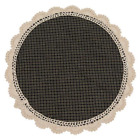 New Primitive Homespun BLACK CHECK LACE CANDLE MAT Doily 13