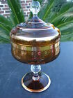 VTG CLEAR GLASS AMBER STEMMED CANDY DISH BOWL RED JEWELS GOLD OVERLAY COVERED