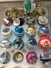 18 Vintage MCM Christmas Glass Ornaments Painted Glitter Mica Foil Bell Garland