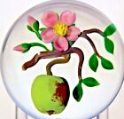 Dazzling VICTOR TRABUCCO Ripening APPLE and BLOSSOMS on BRANCH Glass PAPERWEIGHT