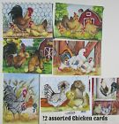 12 assorted chicken note cards 5x7 blank with envelopes by Lisa Rasmussen