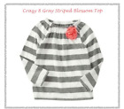 NEW CRAZY8 BY GYMBOREE LITTLE GIRLS SIZE 3T 4T GRAY STRIPED BLOSSOM TOP TEE