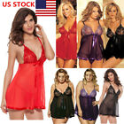 Plus Size Women Sexy Lingerie Lace Mini Dress Pajamas Nightwear Babydoll Dress