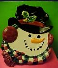 Fitz and Floyd Christmas Snowman plate & Has 2 holes on back for hanging