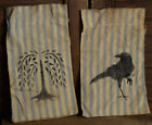Primitive Stenciled Set of 2 Ditty Seed Bags Crow Willow Tree Drawstrings
