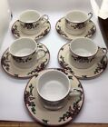 Fitz and Floyd Santas List 5 Cups and 5 Saucers Vintage 1994