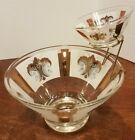Mid Century Anchor Hocking Glass Fleur de Lys Chip and Dip Set with Metal Holder