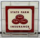 Vintage State Farm Insurance Leaded Glass Sign 16 x 16