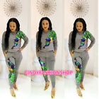 USA Women Lady Two Piece Set Peacock Sequined Outfit Bodysuit Jumpsuit B