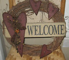 PRIMITIVE COUNTRY HEART WELCOME WREATH