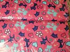 BTY B86 Fish bone cat Dark Pink hearts flowers Flannel Material New by the yard