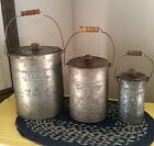 New Primitive Farmhouse Set 3 COUNTRY LIVING Star Tin Canister Bucket Pail Lids