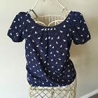 Old Navy Navy Blue  White Blouse Cat Print Size XS
