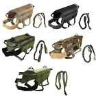 Dog Tactical Vest Leash Molle Canine Harness K9 Hunting Training Military XS XL