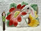 FITZ AND FLOYD EASTER BUNNY BLOOMS CANAPE PLATE W/KNIFE 11