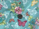 Cotton Snuggle Flannel Fabric BTHY BTY Butterfly Lace Garden on Teal Pink