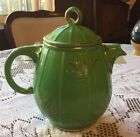 1930s Vintage Hall China Co Bird Cage Tea Pot Green Gold Rim Great Condition.