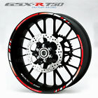 Suzuki GSX-R 750 wheel decals stickers set gsxr750 rim stripe gsxr Laminated red