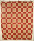 ANTIQUE REDWORK HAND QUILTED EMBROIDERED QUILT CHILDREN EARLY 1900S TURKEY RED
