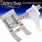 Adjustable Guide Sewing Machine Presser Foot - Fits All Low Shank Snap-On White,