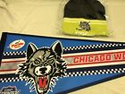 Chicago Wolves Hockey Pennant & Winter Hat Cap Beanie  AHL Ice NEW lime & black