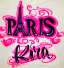 Custom Airbrushed Paris Inspired Shirt with Name Sizes 6 months Adult 5XL