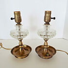 2 Vintage Table Lamps Clear Hobnail Glass Brass Tested Working Victorian Deco