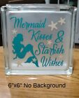Mermaid Kisses  Starfish Wishes Decal sticker for 8 Glass Block Shadow Box DIY
