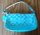 Authentic Coach Handbag Aqua Blue Signature C Cloth Leather Shoulder Purse