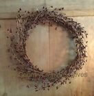 Primitive Country Pip Berry Wreath ~ Burgundy ~ 10