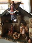 Fontanini Nativity Centennial Lighted Stable 5 Series Holy Family Donkey Angels