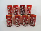 Glasses Tumblers Ruby Red White Lilies Vintage Anchor Hocking Juice Set of 8
