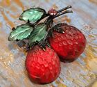 Vintage Austria Frosted Glass Red Green Raspberry Leaf Rhinestone 3D Brooch Pin
