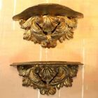 2 Vintage ITALY Gold Ormolu Floating Wood Wall Shelf SET Display Rococo Baroque