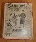 Sandow Chrome Grip Dumbbells For Girls with Chart Boxed C 1890s Rare Antique