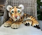 Charming Vintage Large Steiff Mohair Reclining Tiger Glass Glowing Eyes Button