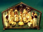 Gorgeous 15pc Glass Brass Christmas Manger Nativity Figurine Set
