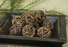 Primitive Country Lot of 12 Rattan Twig Vine Balls w/ Glitter Dusted 2 in. NIP