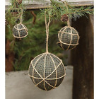 Primitive Country Lot of 3 - Rag Balls Hanging w/ Jute 3 Sizes Gingham Black