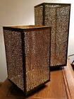 Bath & Body Works Gold Black Pebble Square Tall Metal Candle Holder Luminary Set